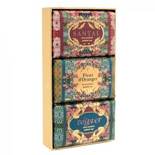 FRAGONARD - Set sapunuri Vetiver Flori de portocal Santal - Gift Bag Savons 3 x150gr