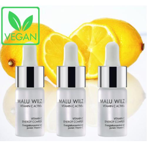 MALU WILZ Vitamin C Active + - Concentrat cu Vitamina C si colagen vegan fara parabeni - Vitamin C Energy Complex 3x9,3ml