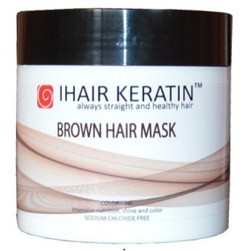 IHAIR KERATIN - Masca de par nuantatoare ciocolatie fara clorura de sodiu - Brown Hair Mask 500ml