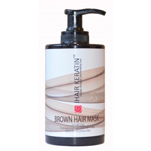 IHAIR KERATIN - Masca de par nuantatoare ciocolatie fara clorura de sodiu - Brown Hair Mask 300ml