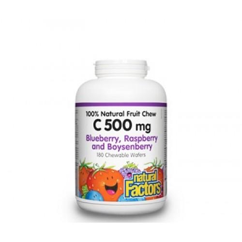 NATURAL FACTORS - Vitamina C-500 – Vitamina C cu bioflavonoizi, rutin, maces si extracte de fructe salbatice - 500 mg/90 tablete masticabile