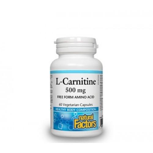 NATURAL FACTORS - L-Carnitine – boli cardiace recuperare musculara dupa exercitii fizice 500 mg/60 caps vegetale