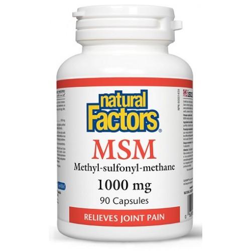 NATURAL FACTORS - MSM 100% pur - artrita alergii gingii imunitate inflamatii reumatism 90 caps/1000mg
