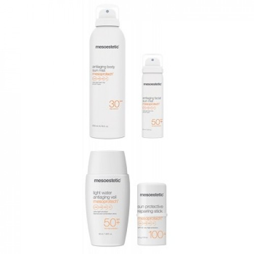 Mesoestetic mesoprotech - Kit facial corporal anti-imbatranire SPF50+ - Antiaging Facial Body Sun Kit SPF50+  200+50+50+4,5ml